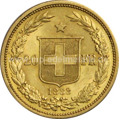 Helvetia 20 Franken 0.187 oz  (1883-1896)