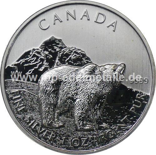 5 $ Wildlife Grizzly Bär 1oz (differenzbesteuert) (2011)
